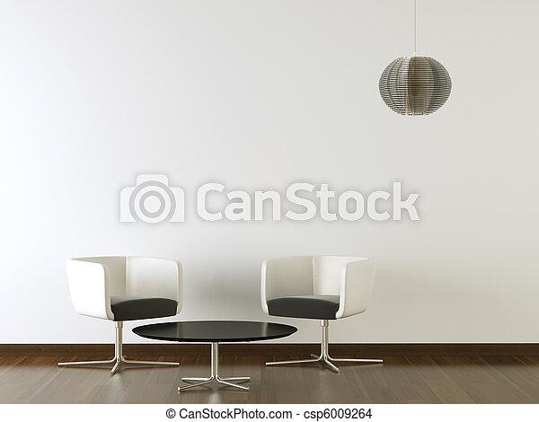 parete, disegno, interno, nero, bianco, mobilia - csp6009264