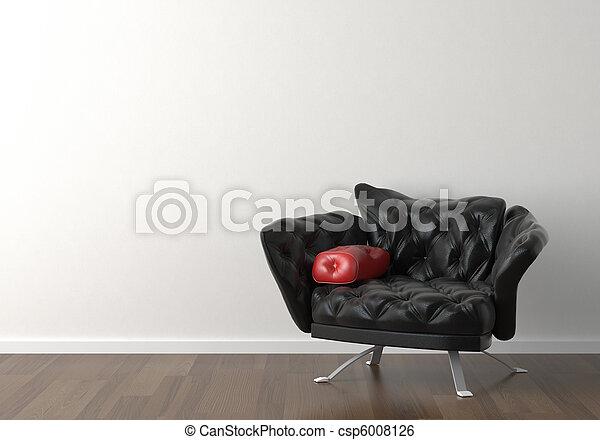 parete, disegno, interno, nero, sedia, bianco - csp6008126