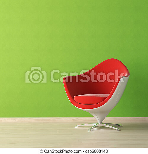 parete, disegno, interno, sedia verde, rosso - csp6008148