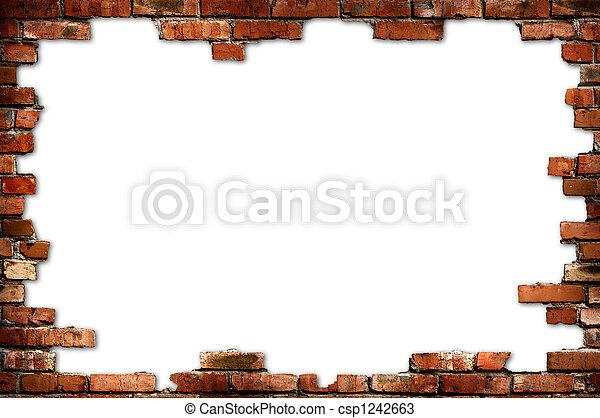 parete, grungy, mattone, cornice - csp1242663