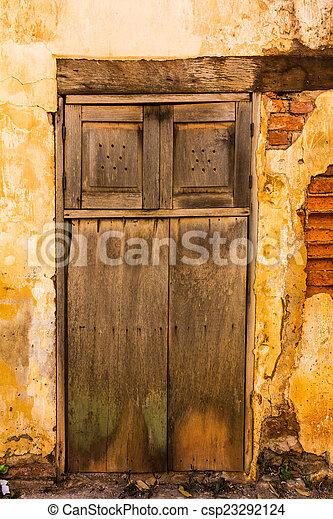 parete, legno, mattone, vecchio, porta - csp23292124