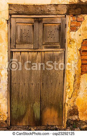 parete, legno, mattone, vecchio, porta - csp23292125