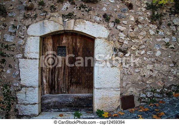 parete legno, pietra, porta, vecchio - csp12459394