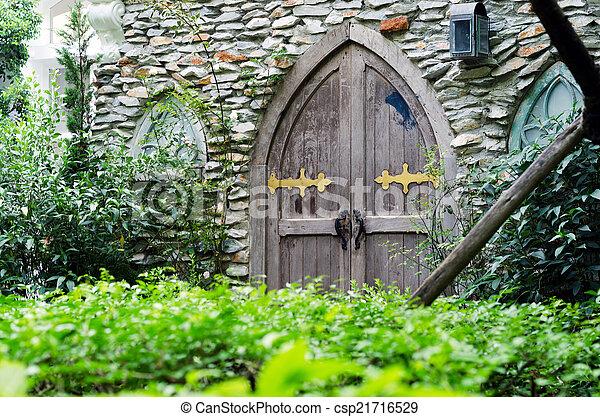 parete legno, pietra, porta, vecchio - csp21716529