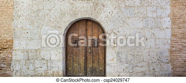 parete legno, pietra, porta, vecchio - csp24029747