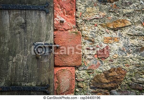 parete legno, pietra, porta, vecchio - csp34400196