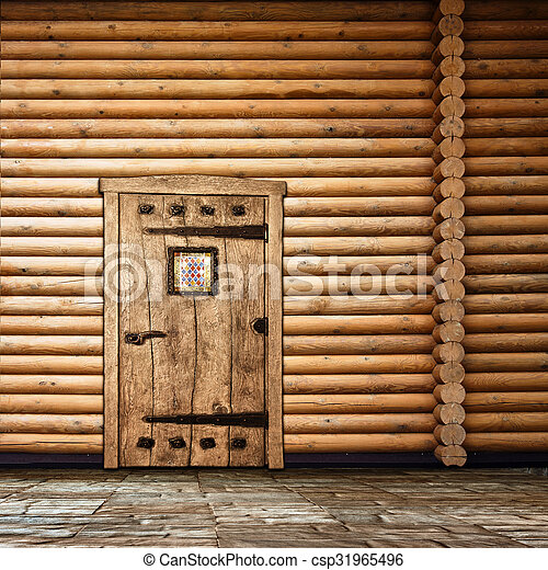 parete legno, porta - csp31965496
