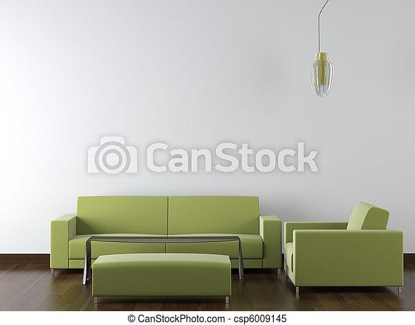 parete, moderno, disegno, interno, verde bianco, mobilia - csp6009145