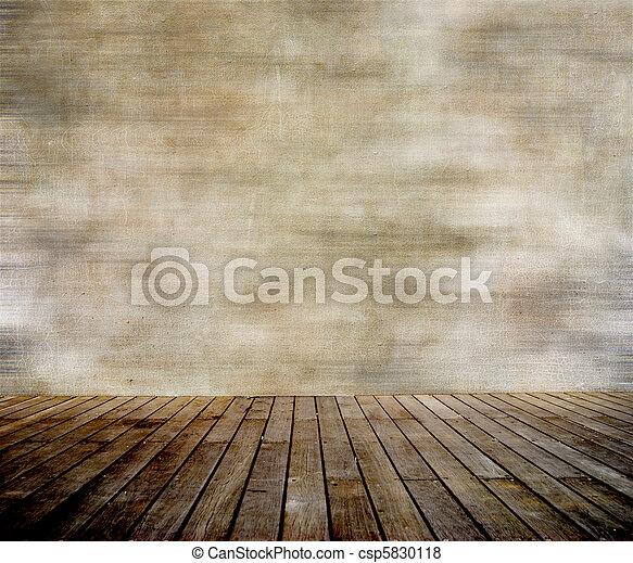 parete, paneled, legno, grunge, pavimento - csp5830118