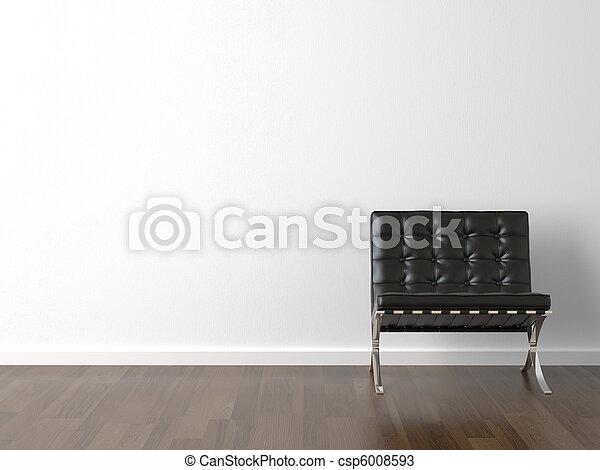 parete, sedia, nero, bianco - csp6008593