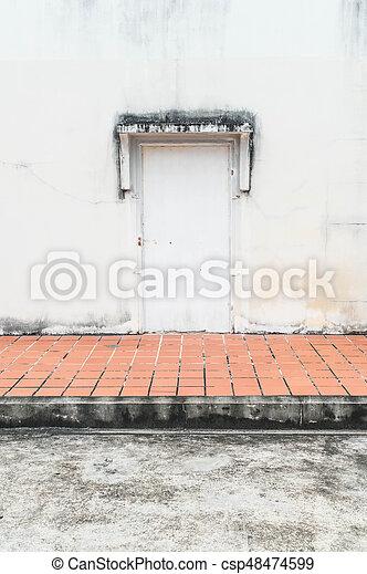parete, vecchio, porta, fondo - csp48474599