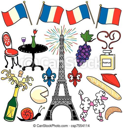 parigi francia, elementi, clipart, icone - csp7554114