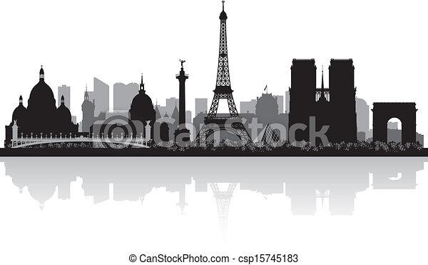 parigi, skyline città, silhouette, francia - csp15745183