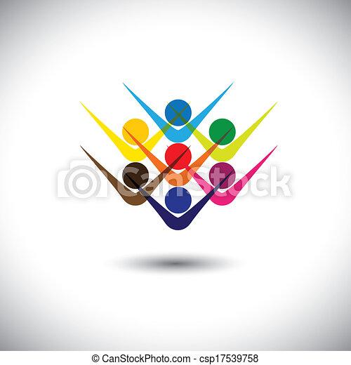 partying, concetto, rappresentare, astratto, &, persone, anche, eccitato, lattina, colorito, gioco, illustrazione, grafico, children., animato, bambini, personale, questo, personale, ecc, vettore, amici, felice, o - csp17539758