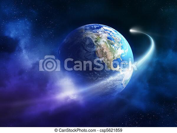 passeggero, cometa, terra, spostamento, pianeta - csp5621859