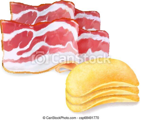 patata, pancetta affumicata, isolato, illustrazione, realistico, aroma, patatine fritte, 3d - csp68491770