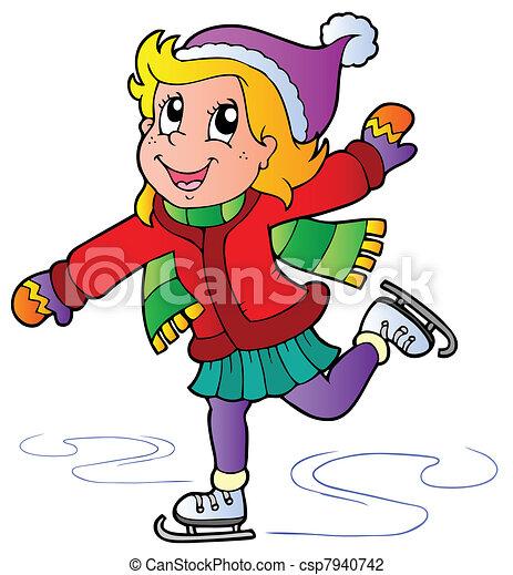 pattinaggio, ragazza, cartone animato - csp7940742
