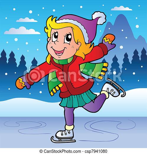 pattinaggio, ragazza, scena inverno - csp7941080