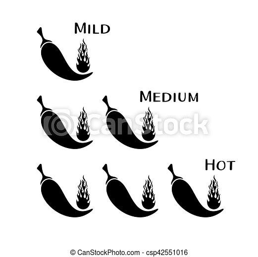 peperoni, chilli, vettore, nero - csp42551016