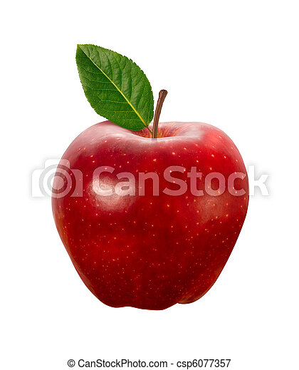 percorso, ritaglio, mela, rosso, isolato - csp6077357