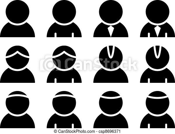persona, vettore, nero, icone - csp8696371