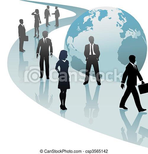 persone affari, futuro, progresso, mondo, percorso - csp3565142