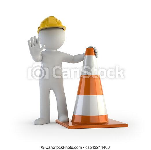 persone, -, cono traffico, piccolo, 3d - csp43244400