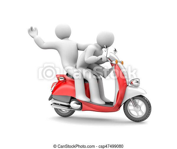 persone, due, illustrazione, moped., sentiero per cavalcate, 3d - csp47499080