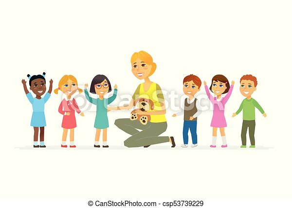 persone, -, isolato, illustrazione, insegnante, vivaio, caratteri, cartone animato, bambini - csp53739229