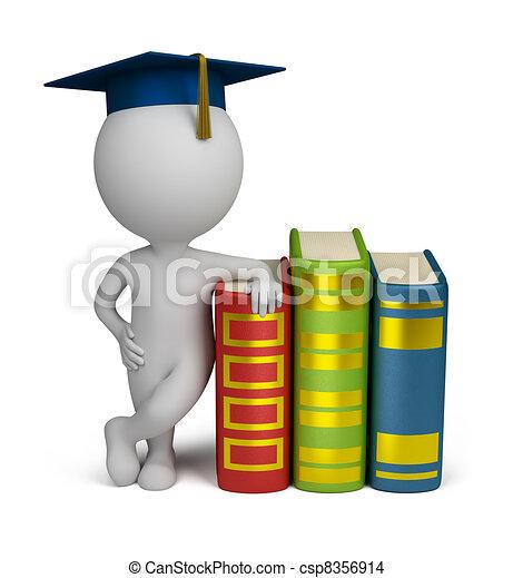 persone, -, laureato, libri, piccolo, 3d - csp8356914