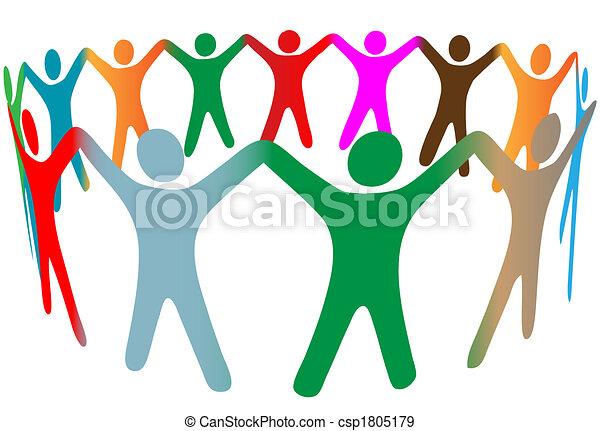 persone, molti, simbolo, su, colori, diverso, mani, anello, presa, miscela - csp1805179
