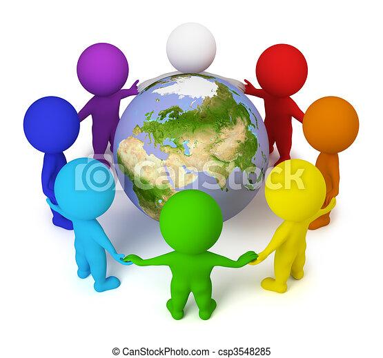 persone, pace, -, piccolo, terra, 3d - csp3548285