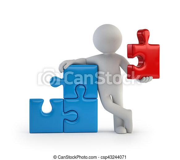 persone, -, parte, piccolo, principale, 3d - csp43244071