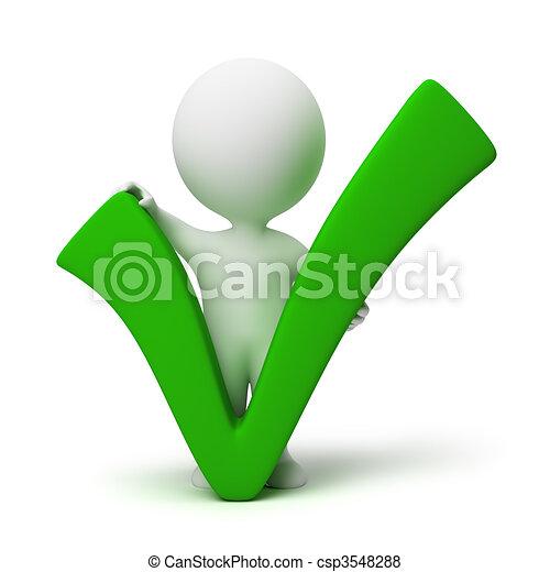 persone, positivo, simbolo, -, piccolo, 3d - csp3548288