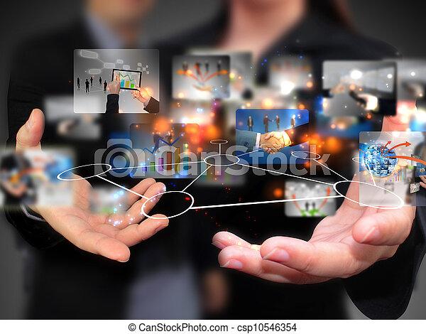 persone, presa a terra, media, sociale, affari - csp10546354
