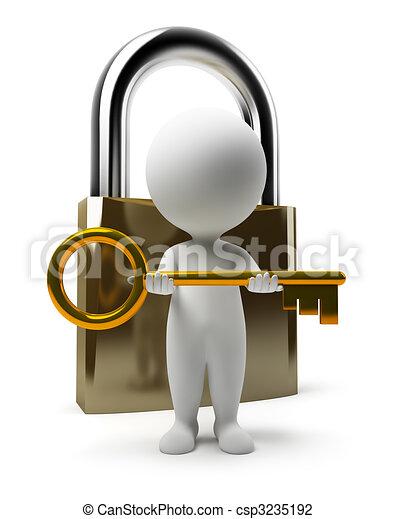 persone, serratura, -, chiave, piccolo, 3d - csp3235192