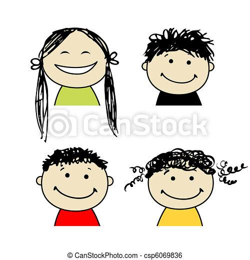 persone sorridenti, disegno, tuo, icone - csp6069836
