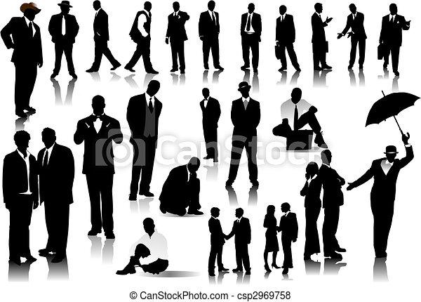 persone ufficio, colorare, silhouettes., uno, vettore, scatto, cambiamento - csp2969758