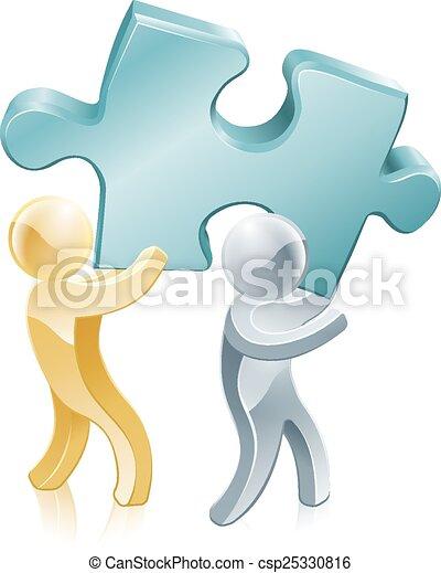 pezzo, mascotti, jigsaw - csp25330816
