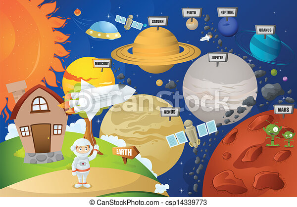 pianeta, astronauta, sistema - csp14339773