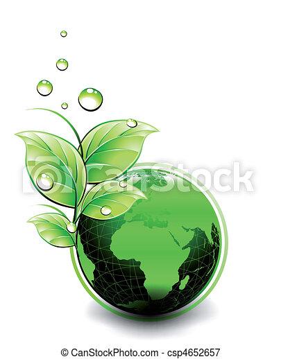pianeta, ecologia, verde, vettore, design. - csp4652657