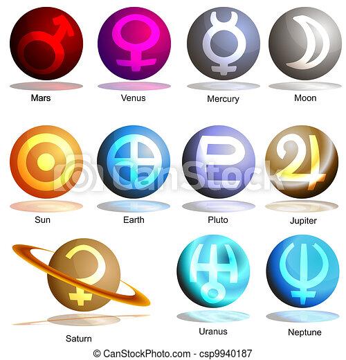 pianeta, simbolo, set, 3d - csp9940187