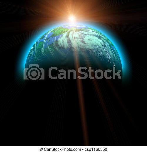 pianeta, sole, salita, illustrazione - csp1160550