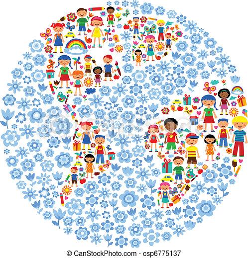 pianeta, vettore, bambini, illustrazione, colorito - csp6775137