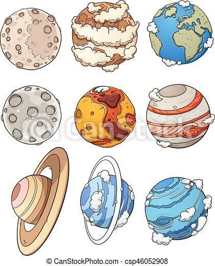 pianeti, cartone animato - csp46052908