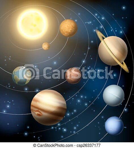 pianeti, nostro, sistema solare - csp26337177