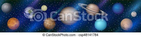 pianeti, seamless, sistema solare - csp48141784