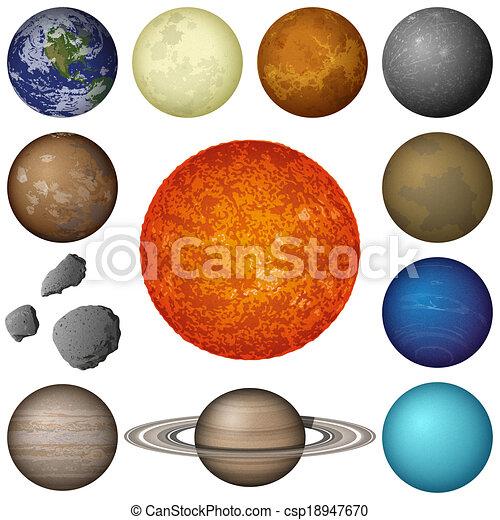 pianeti, sistema, solare, set, luna - csp18947670
