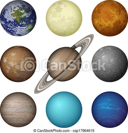 pianeti, sistema, solare, set, luna - csp17964619