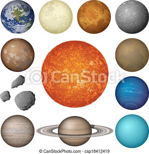 pianeti, sistema, solare, set, luna - csp18412419